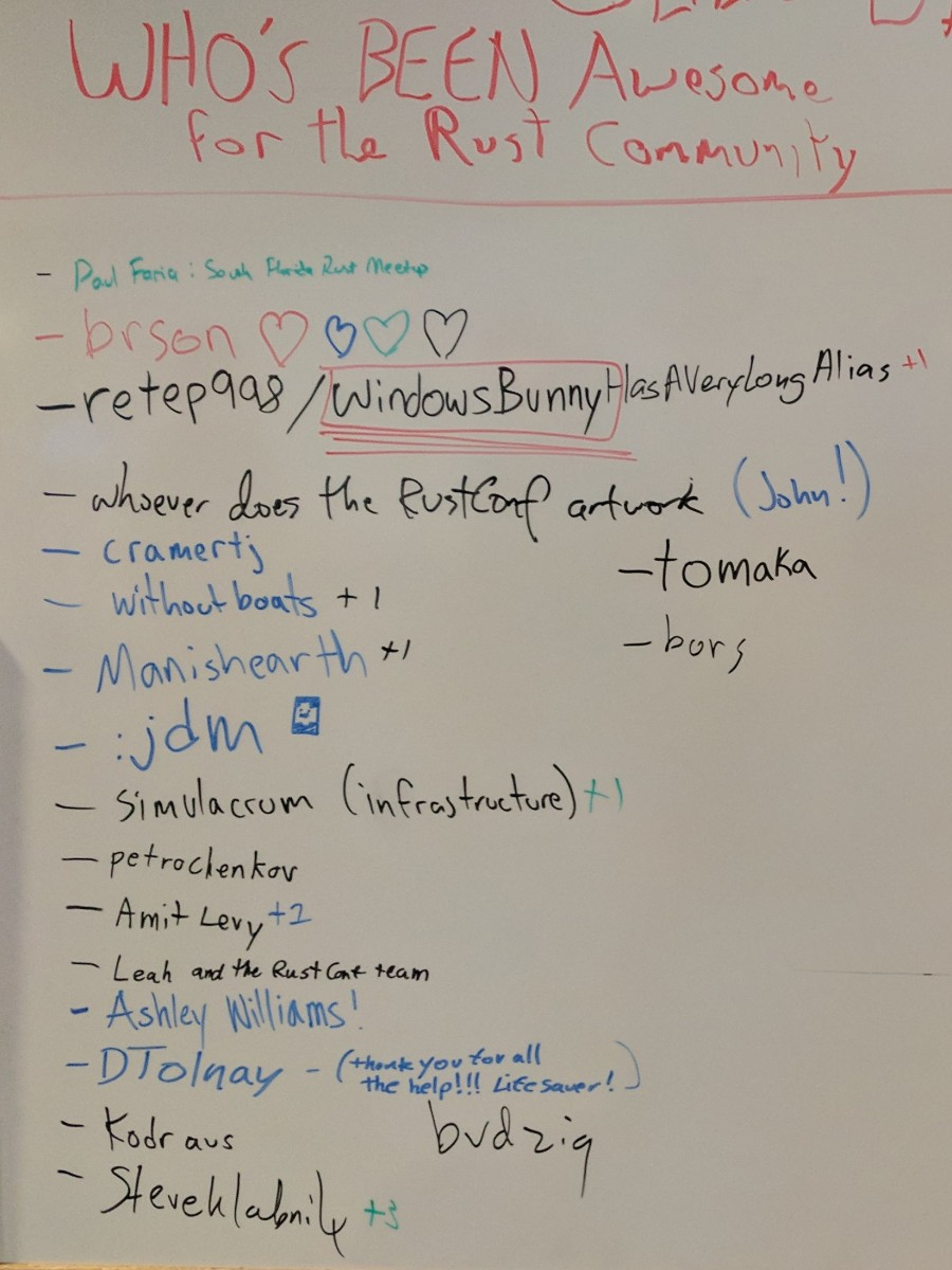 A photo of a whiteboard from RustConf 2017 which displays a list titled - who's been awesome for the Rust community - contributed by attendees.